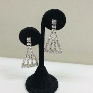 Jewelry - Vintage Pierced Rhinestone Earrings